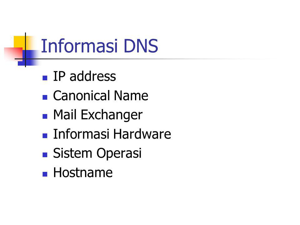 Informasi DNS IP address Canonical Name Mail Exchanger
