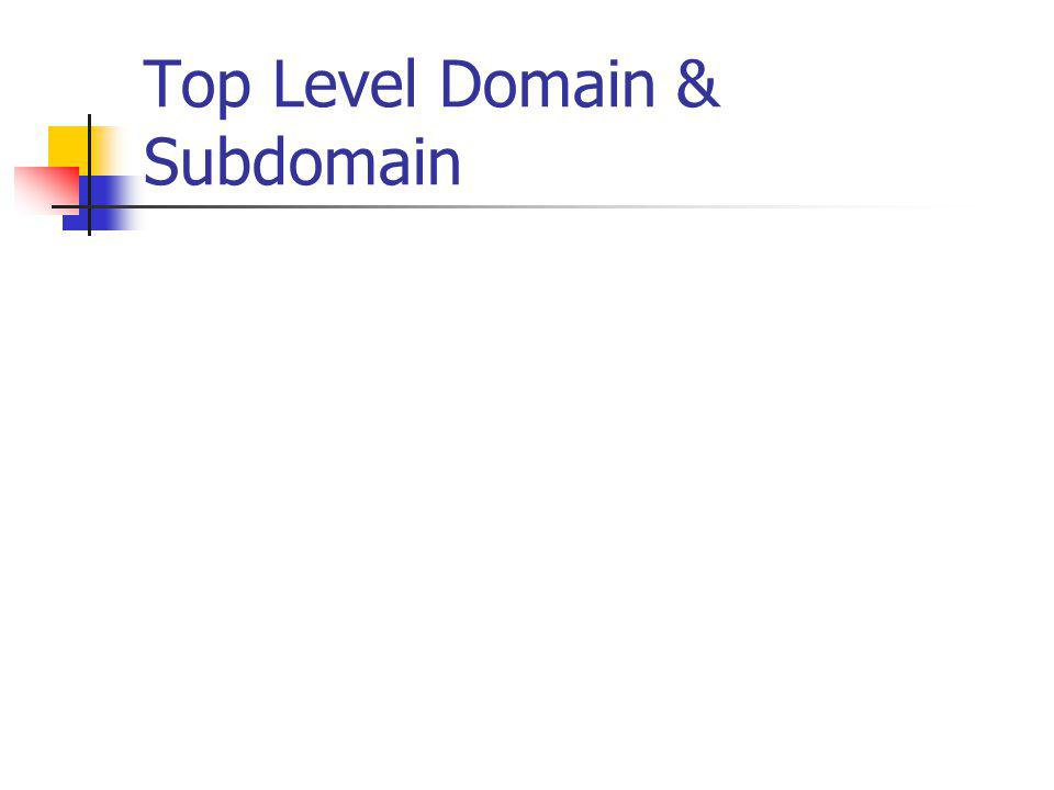 Top Level Domain & Subdomain