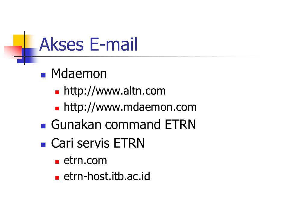 Akses E-mail Mdaemon Gunakan command ETRN Cari servis ETRN
