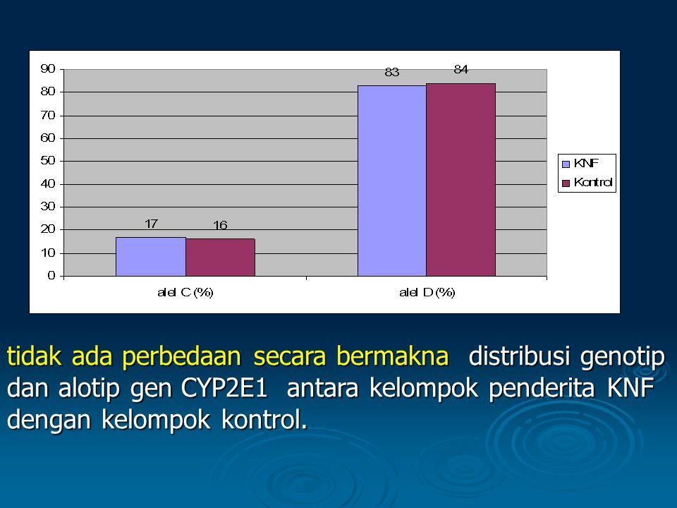 tidak ada perbedaan secara bermakna distribusi genotip dan alotip gen CYP2E1 antara kelompok penderita KNF dengan kelompok kontrol.