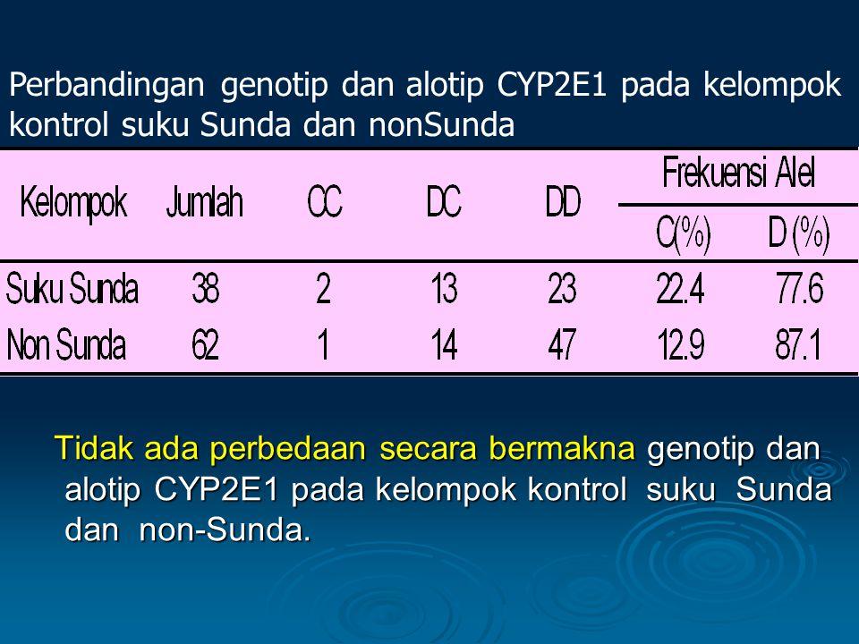 Perbandingan genotip dan alotip CYP2E1 pada kelompok kontrol suku Sunda dan nonSunda