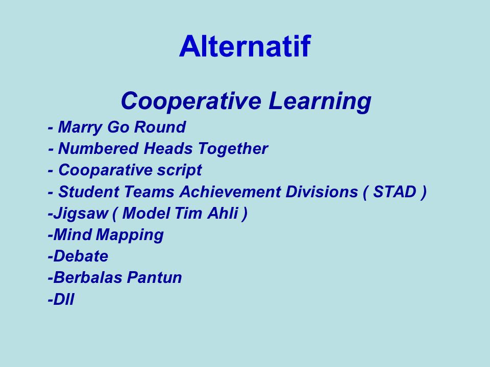 Alternatif Cooperative Learning - Marry Go Round