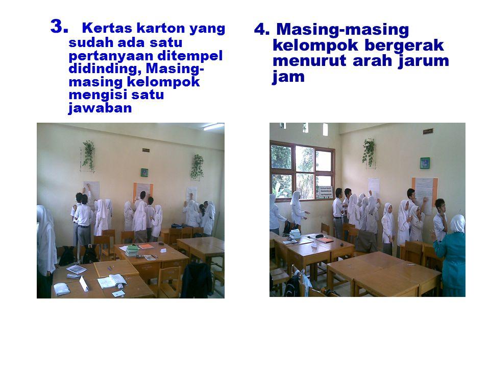 3. Kertas karton yang sudah ada satu pertanyaan ditempel didinding, Masing-masing kelompok mengisi satu jawaban