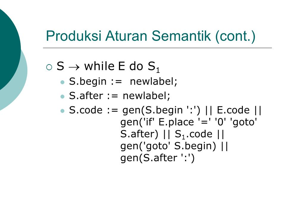 Produksi Aturan Semantik (cont.)