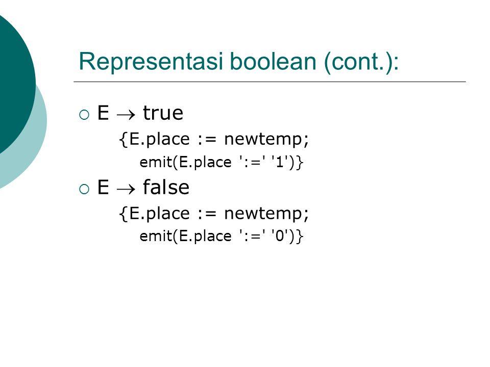 Representasi boolean (cont.):
