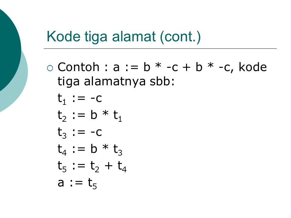 Kode tiga alamat (cont.)