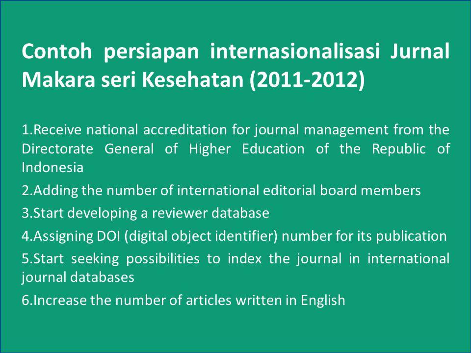 Contoh persiapan internasionalisasi Jurnal Makara seri Kesehatan (2011-2012)
