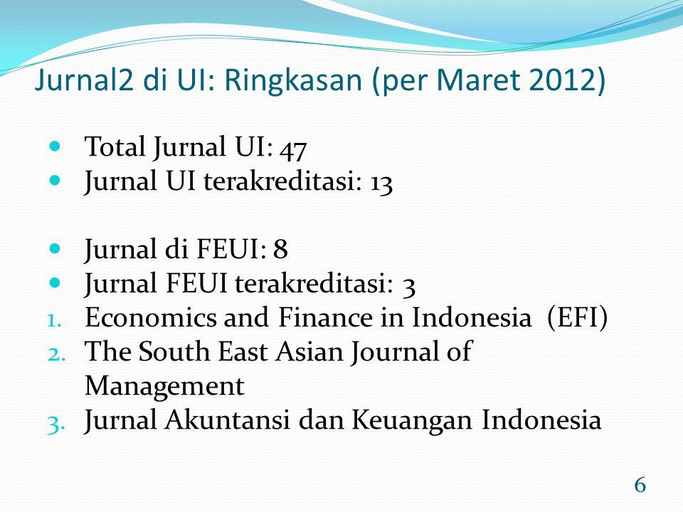 Jurnal2 di UI: Ringkasan (per Maret 2012)