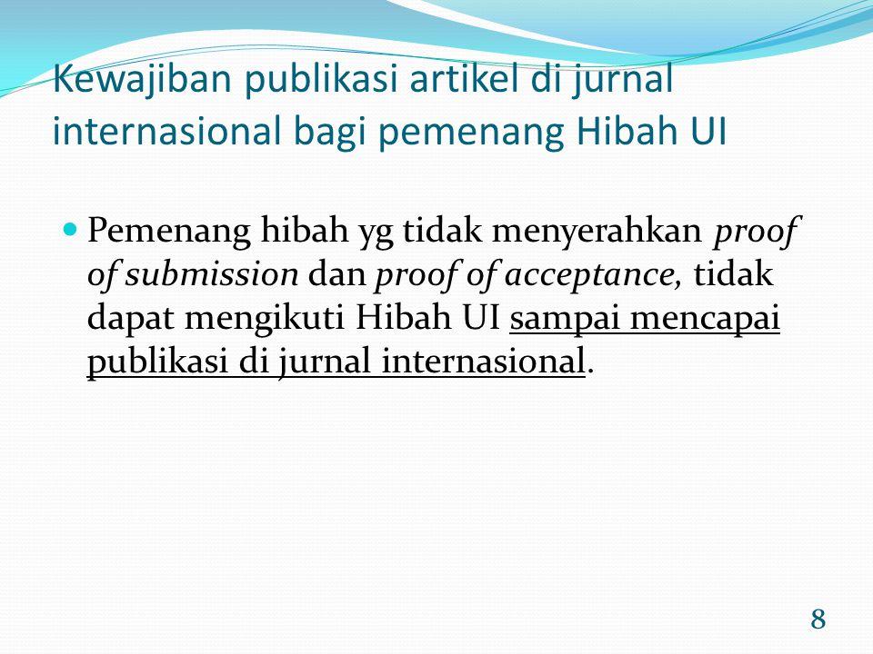 Kewajiban publikasi artikel di jurnal internasional bagi pemenang Hibah UI
