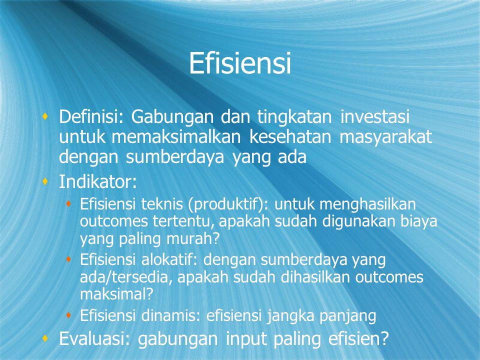 Efisiensi Definisi: Gabungan dan tingkatan investasi untuk memaksimalkan kesehatan masyarakat dengan sumberdaya yang ada.
