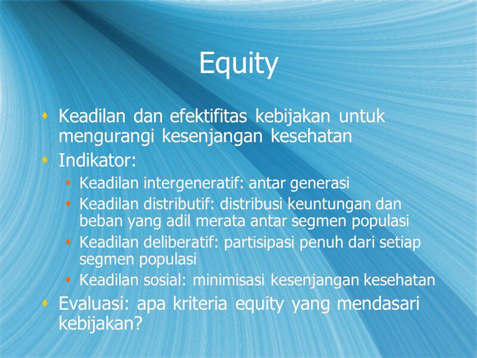 Equity Keadilan dan efektifitas kebijakan untuk mengurangi kesenjangan kesehatan. Indikator: Keadilan intergeneratif: antar generasi.