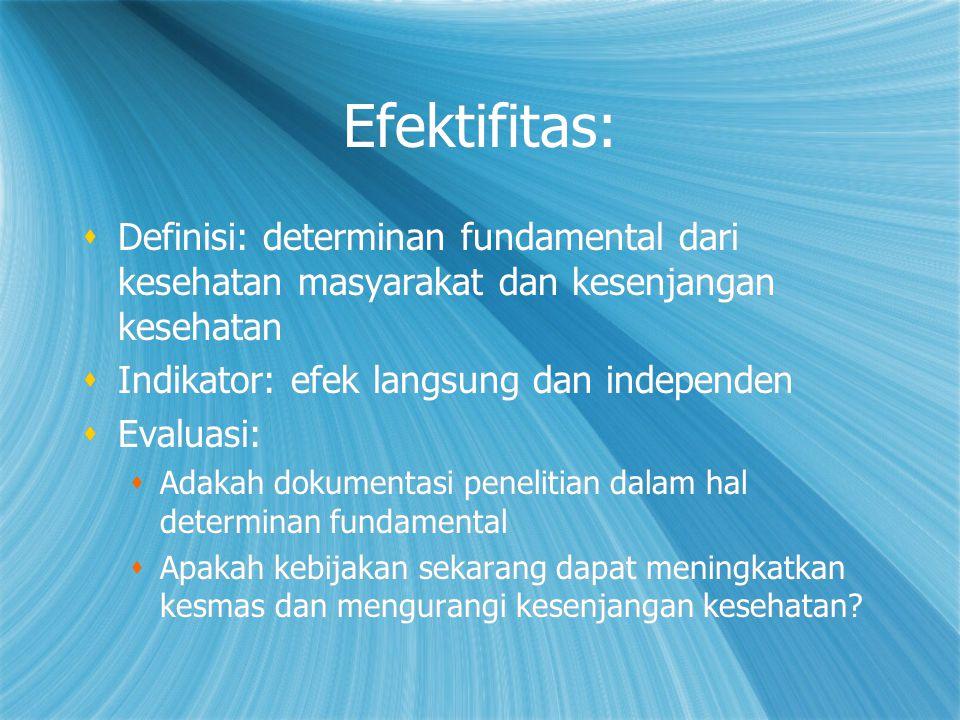 Efektifitas: Definisi: determinan fundamental dari kesehatan masyarakat dan kesenjangan kesehatan. Indikator: efek langsung dan independen.