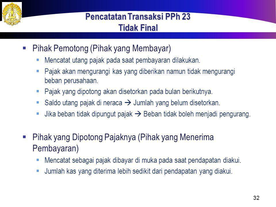 Pencatatan Transaksi PPh 23 Tidak Final