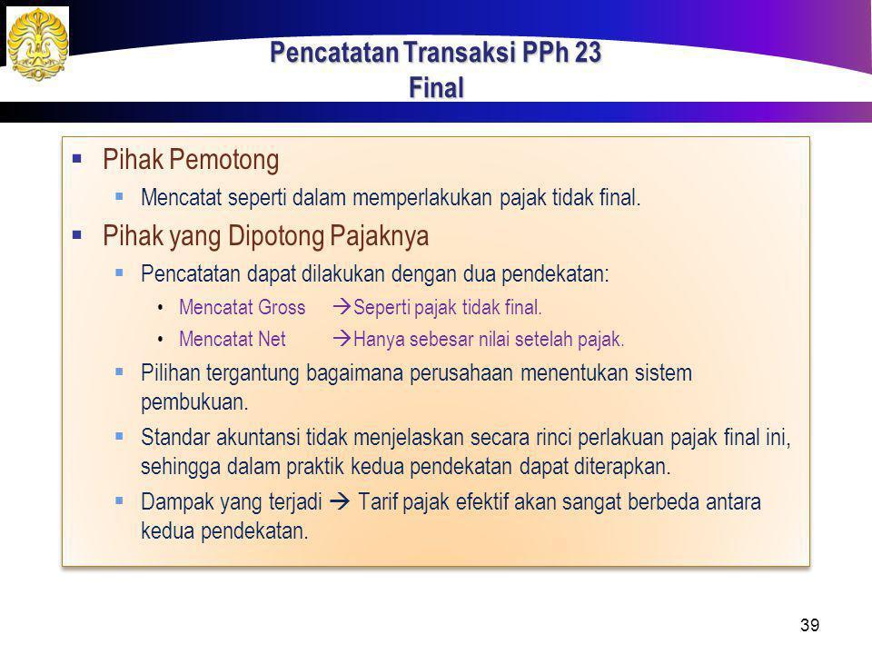 Pencatatan Transaksi PPh 23 Final