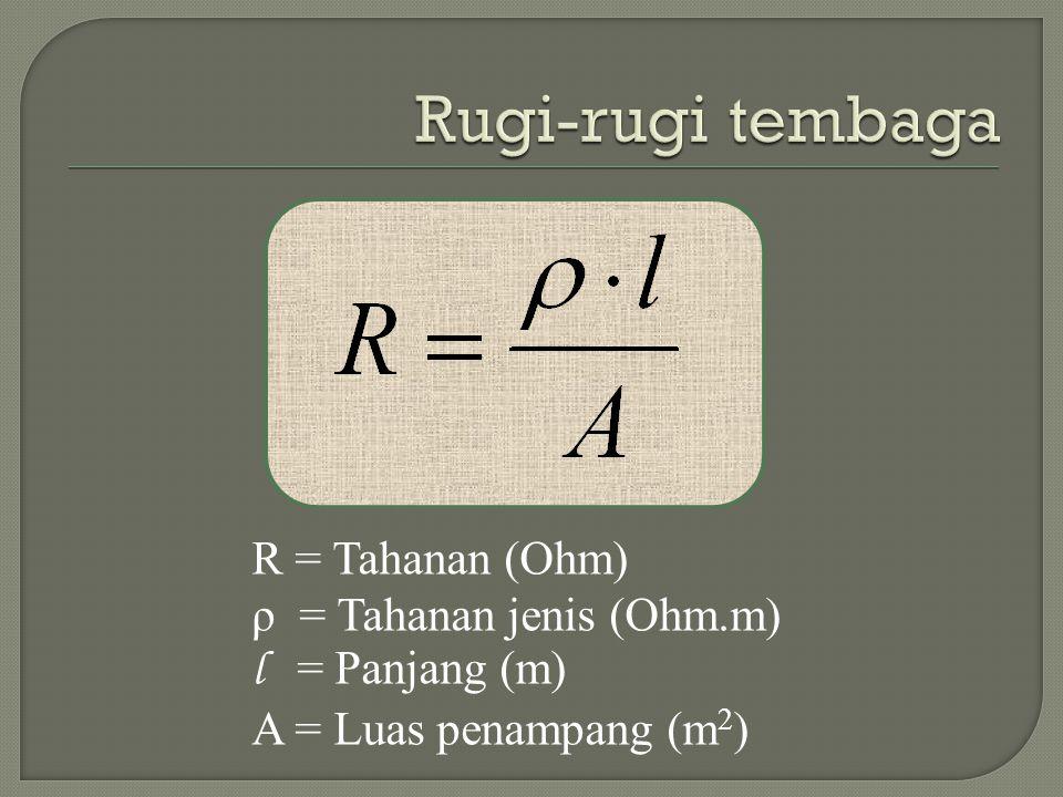 Rugi-rugi tembaga R = Tahanan (Ohm) ρ = Tahanan jenis (Ohm.m)