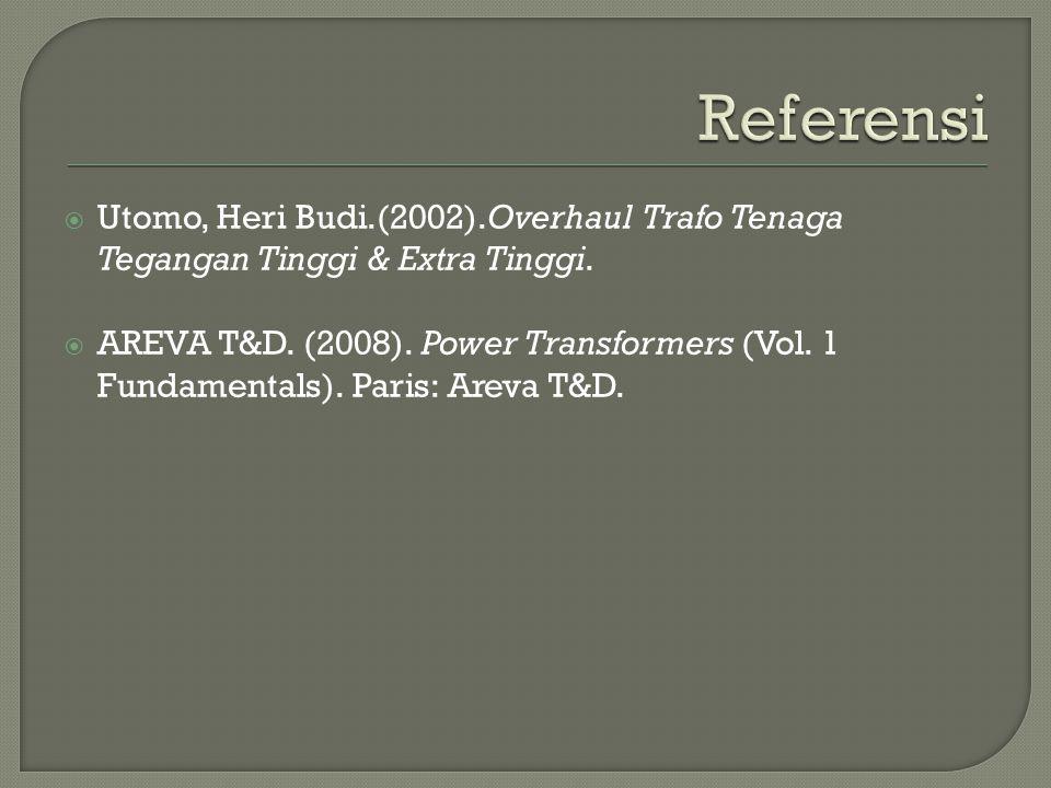 Referensi Utomo, Heri Budi.(2002).Overhaul Trafo Tenaga Tegangan Tinggi & Extra Tinggi.