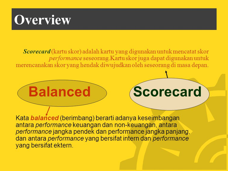 Overview Balanced Scorecard
