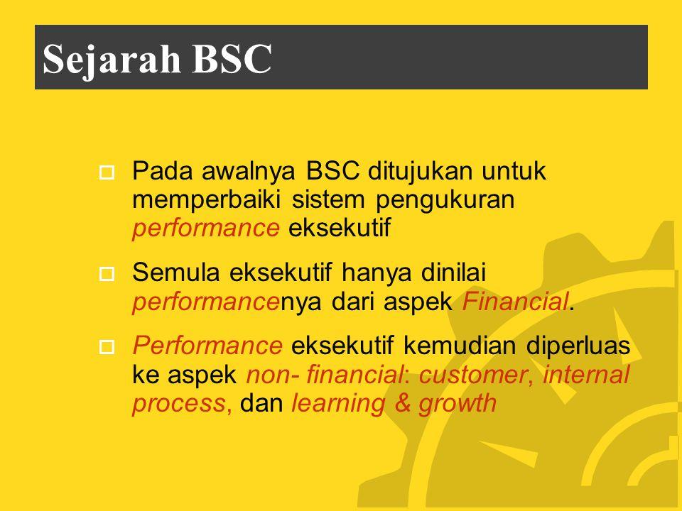 Sejarah BSC Pada awalnya BSC ditujukan untuk memperbaiki sistem pengukuran performance eksekutif.