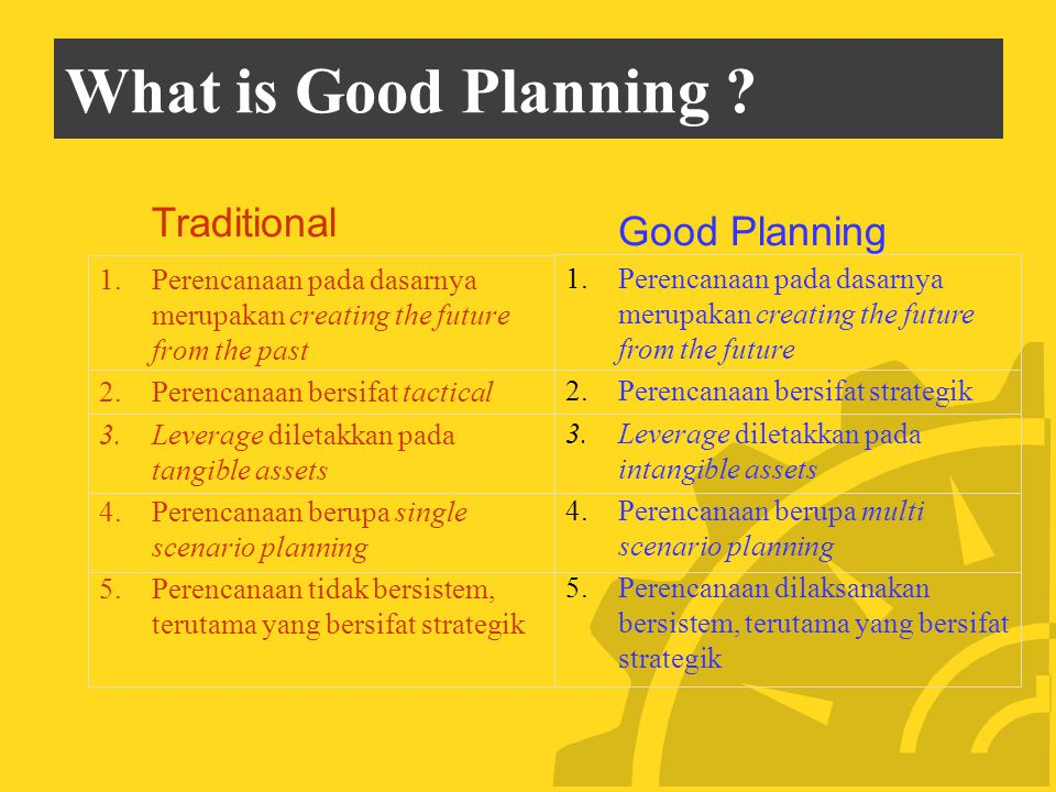 What is Good Planning Traditional Good Planning