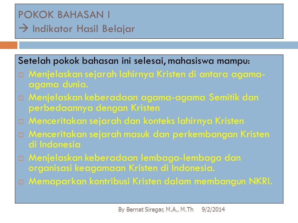 POKOK BAHASAN I  Indikator Hasil Belajar
