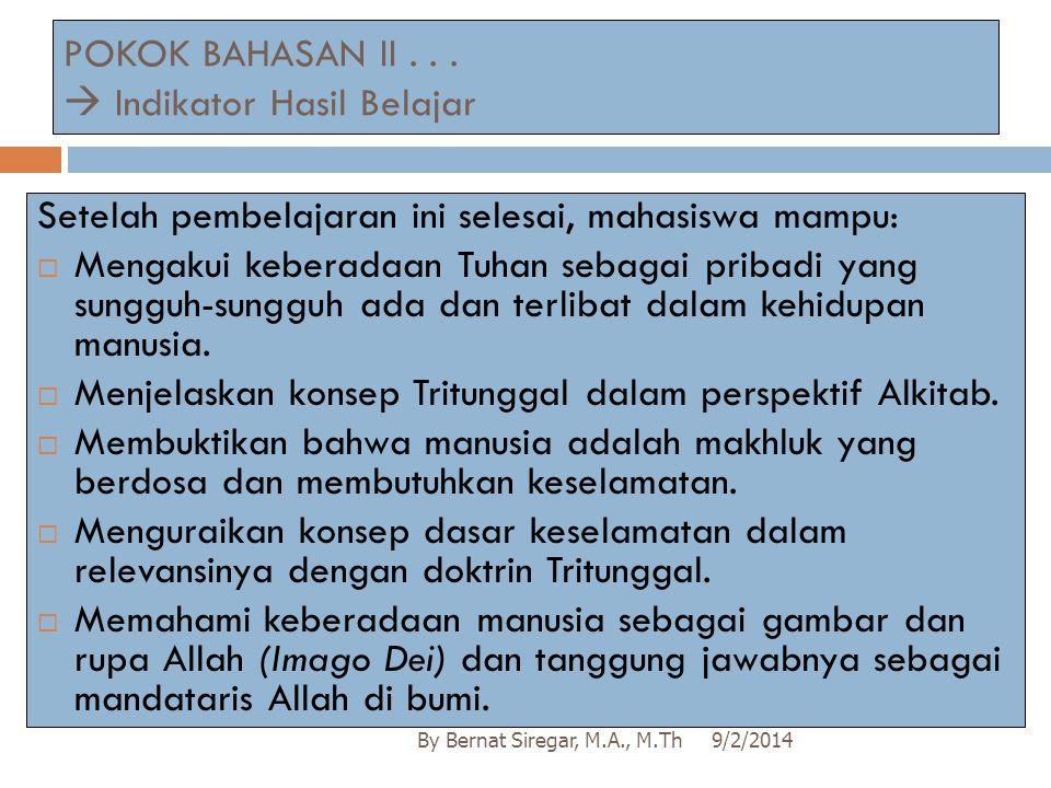 POKOK BAHASAN II . . .  Indikator Hasil Belajar
