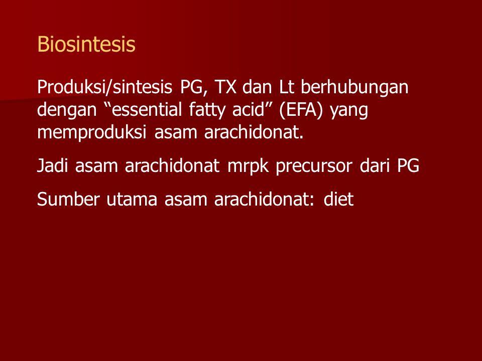 Biosintesis Produksi/sintesis PG, TX dan Lt berhubungan dengan essential fatty acid (EFA) yang memproduksi asam arachidonat.