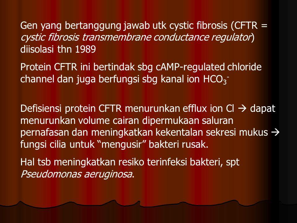Gen yang bertanggung jawab utk cystic fibrosis (CFTR = cystic fibrosis transmembrane conductance regulator) diisolasi thn 1989