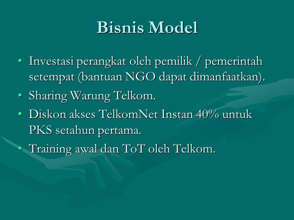Bisnis Model Investasi perangkat oleh pemilik / pemerintah setempat (bantuan NGO dapat dimanfaatkan).