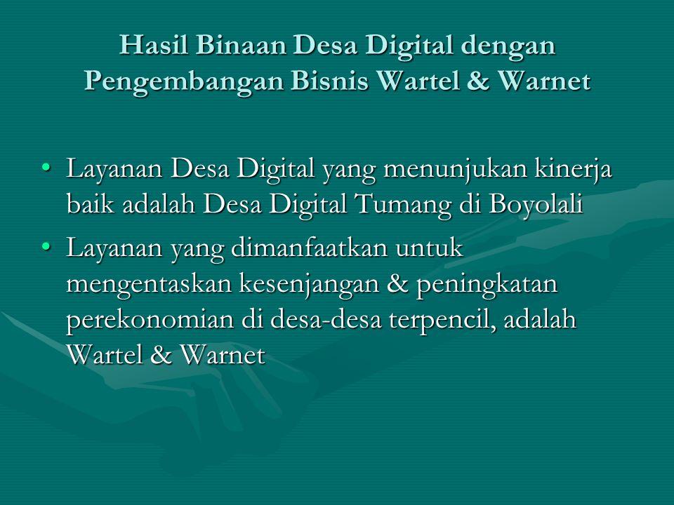 Hasil Binaan Desa Digital dengan Pengembangan Bisnis Wartel & Warnet
