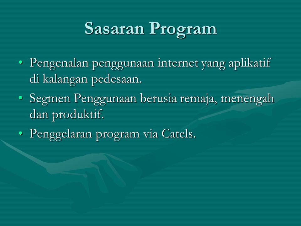 Sasaran Program Pengenalan penggunaan internet yang aplikatif di kalangan pedesaan. Segmen Penggunaan berusia remaja, menengah dan produktif.