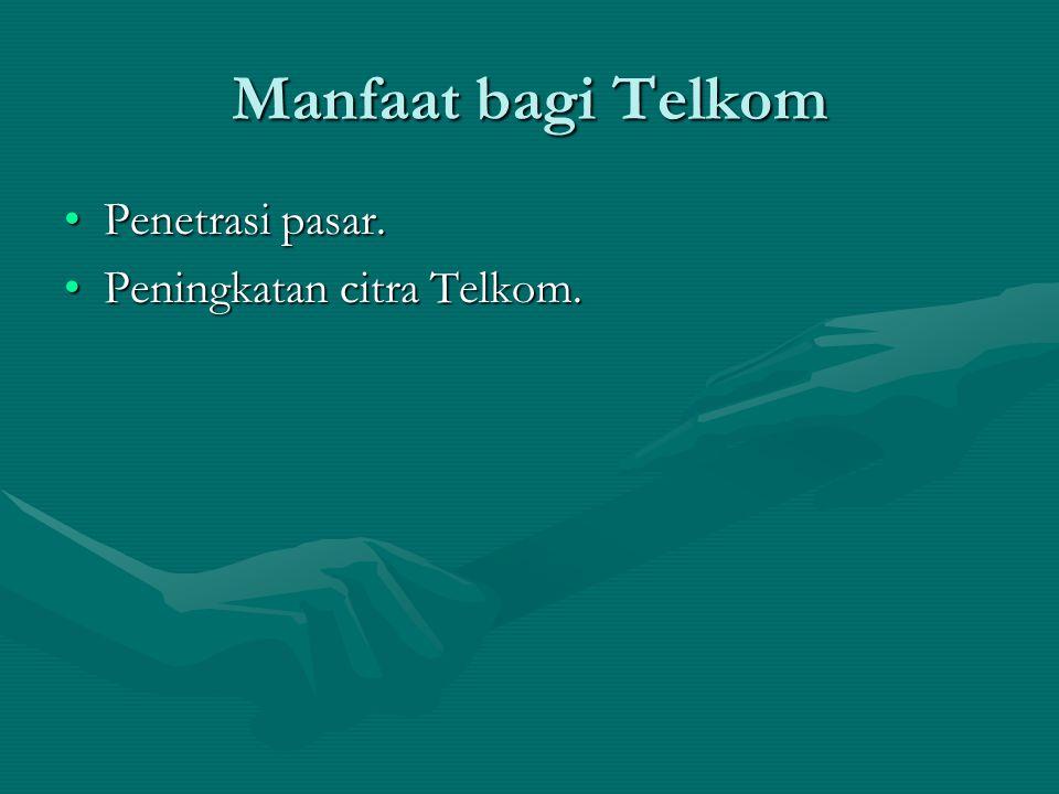 Manfaat bagi Telkom Penetrasi pasar. Peningkatan citra Telkom.