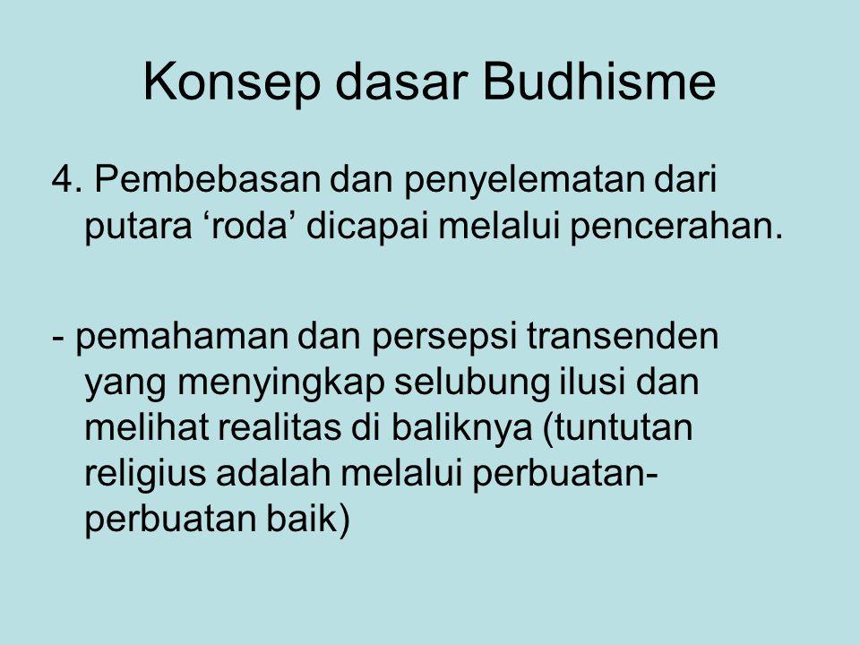 Konsep dasar Budhisme 4. Pembebasan dan penyelematan dari putara 'roda' dicapai melalui pencerahan.