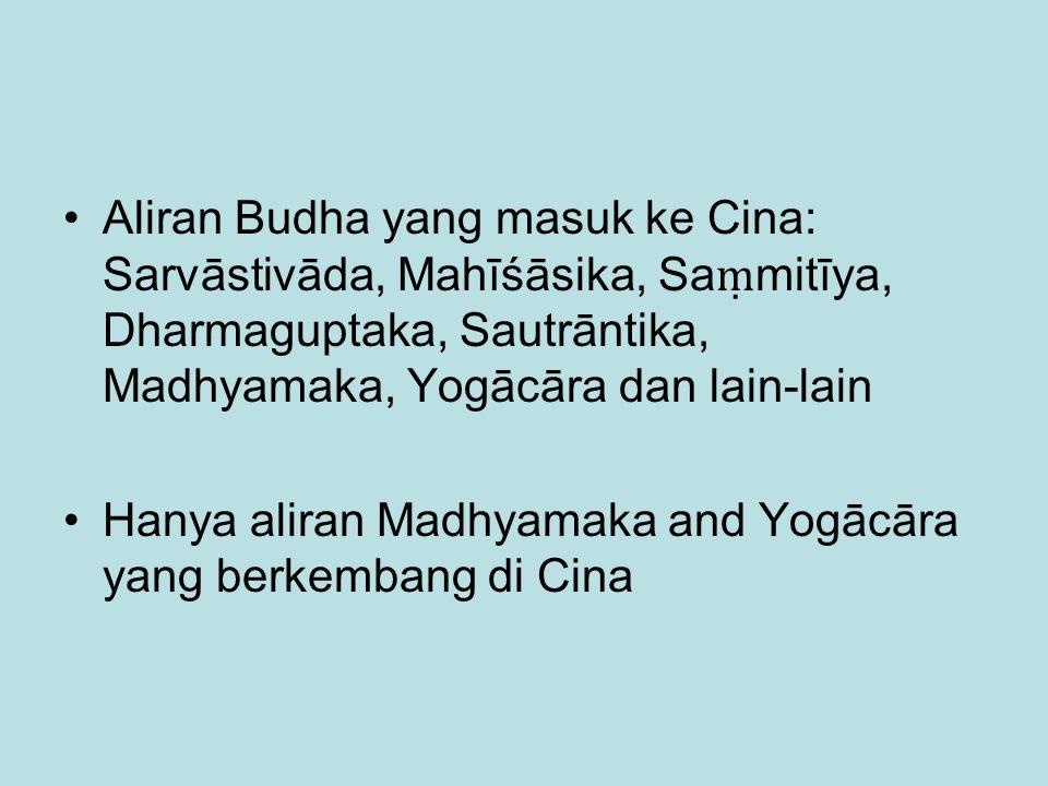 Aliran Budha yang masuk ke Cina: Sarvāstivāda, Mahīśāsika, Saṃmitīya, Dharmaguptaka, Sautrāntika, Madhyamaka, Yogācāra dan lain-lain