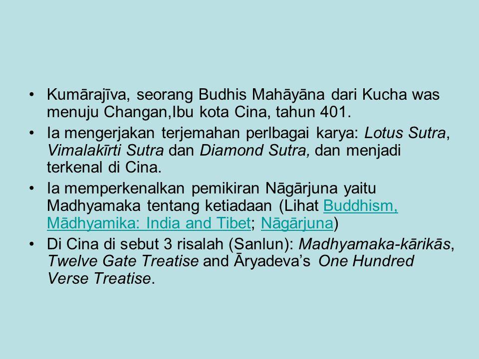 Kumārajīva, seorang Budhis Mahāyāna dari Kucha was menuju Changan,Ibu kota Cina, tahun 401.