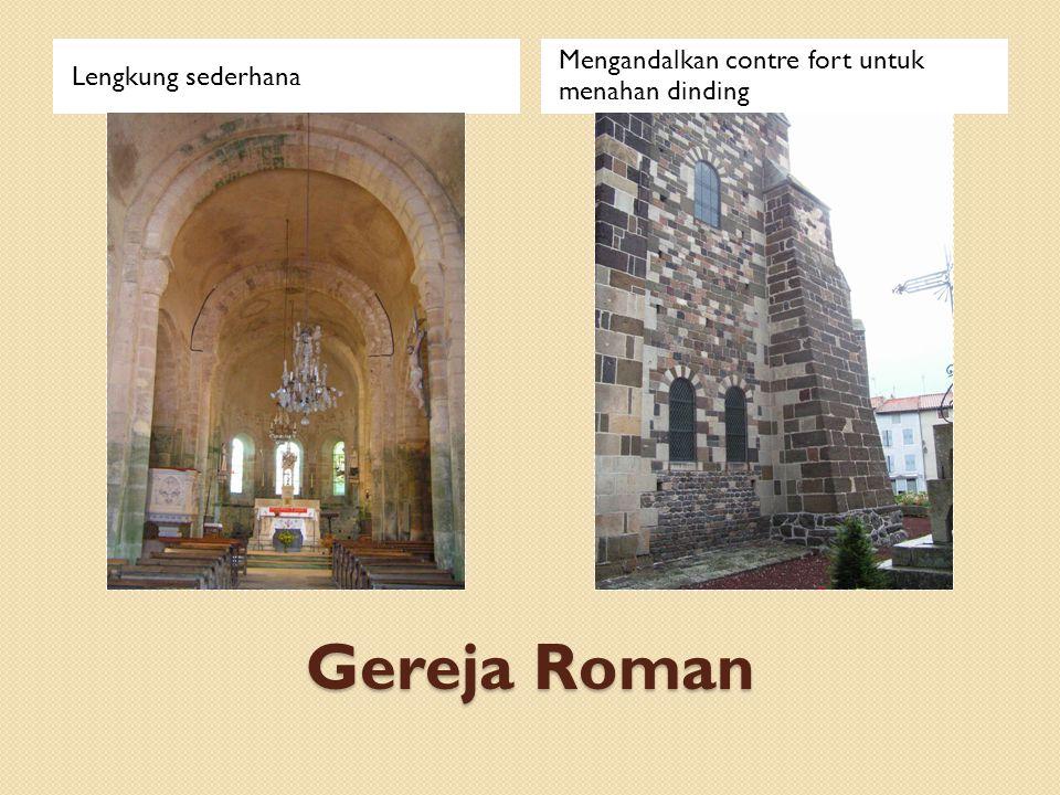 Gereja Roman Mengandalkan contre fort untuk menahan dinding