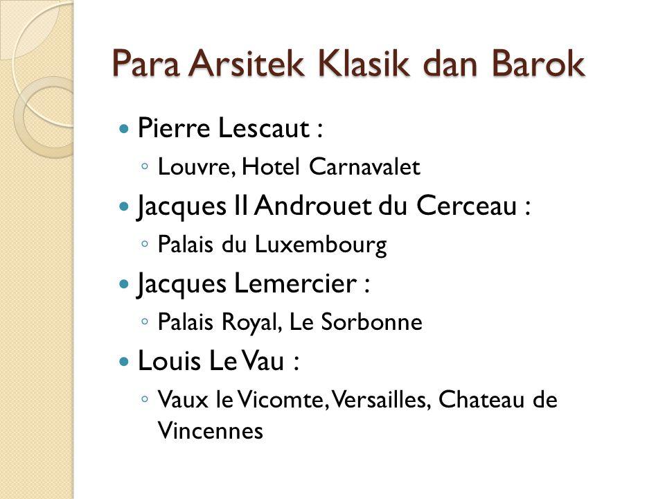 Para Arsitek Klasik dan Barok