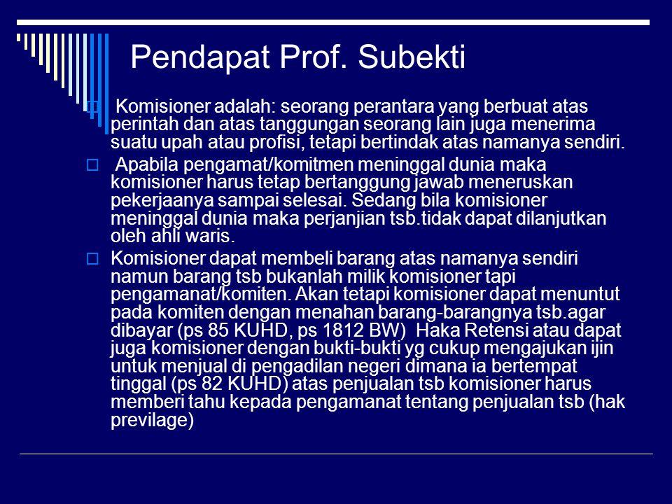Pendapat Prof. Subekti