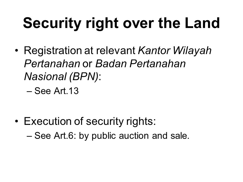 Security right over the Land