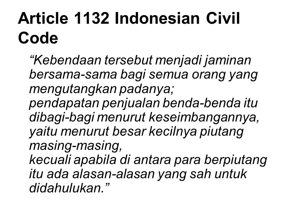 Article 1132 Indonesian Civil Code