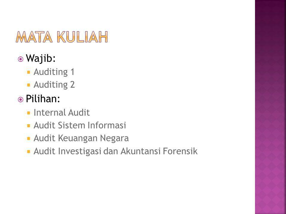 Mata Kuliah Wajib: Pilihan: Auditing 1 Auditing 2 Internal Audit