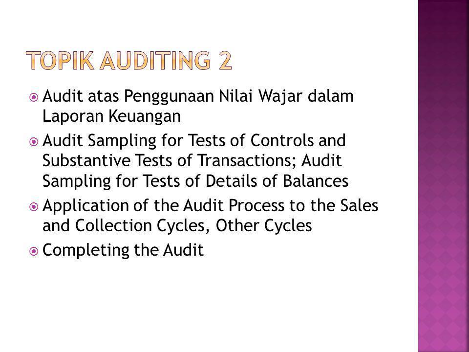 Topik Auditing 2 Audit atas Penggunaan Nilai Wajar dalam Laporan Keuangan.