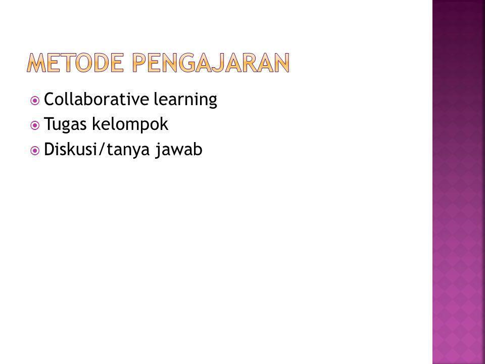 Metode Pengajaran Collaborative learning Tugas kelompok