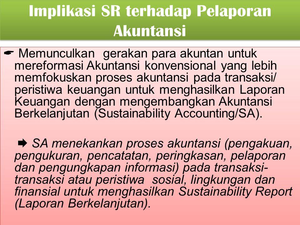 Implikasi SR terhadap Pelaporan Akuntansi
