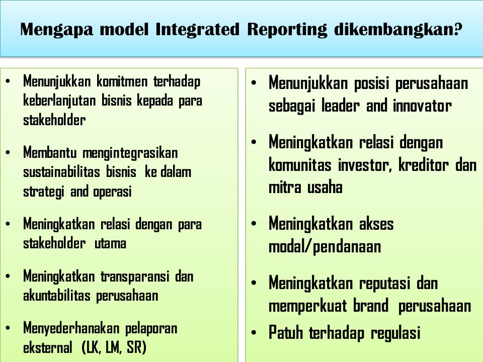 Mengapa model Integrated Reporting dikembangkan