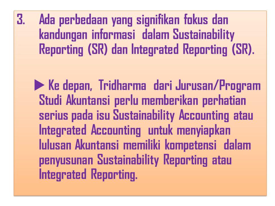 Ada perbedaan yang signifikan fokus dan kandungan informasi dalam Sustainability Reporting (SR) dan Integrated Reporting (SR).