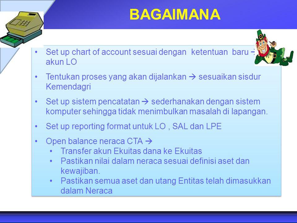 BAGAIMANA Set up chart of account sesuai dengan ketentuan baru  akun LO. Tentukan proses yang akan dijalankan  sesuaikan sisdur Kemendagri.