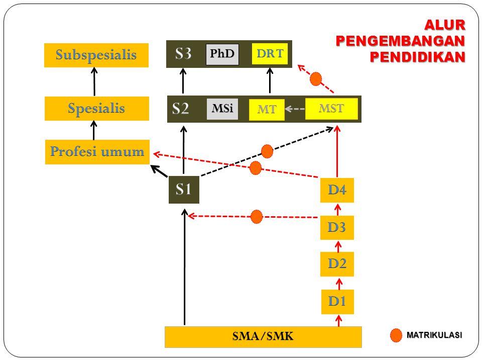 S3 S2 S1 Subspesialis Spesialis Profesi umum D4 D3 D2 D1