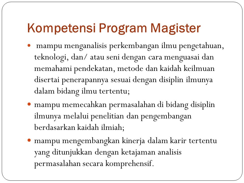 Kompetensi Program Magister