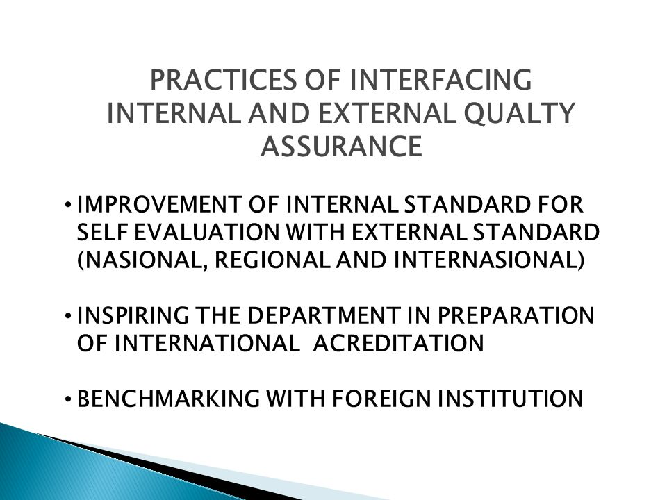 PRACTICES OF INTERFACING INTERNAL AND EXTERNAL QUALTY ASSURANCE