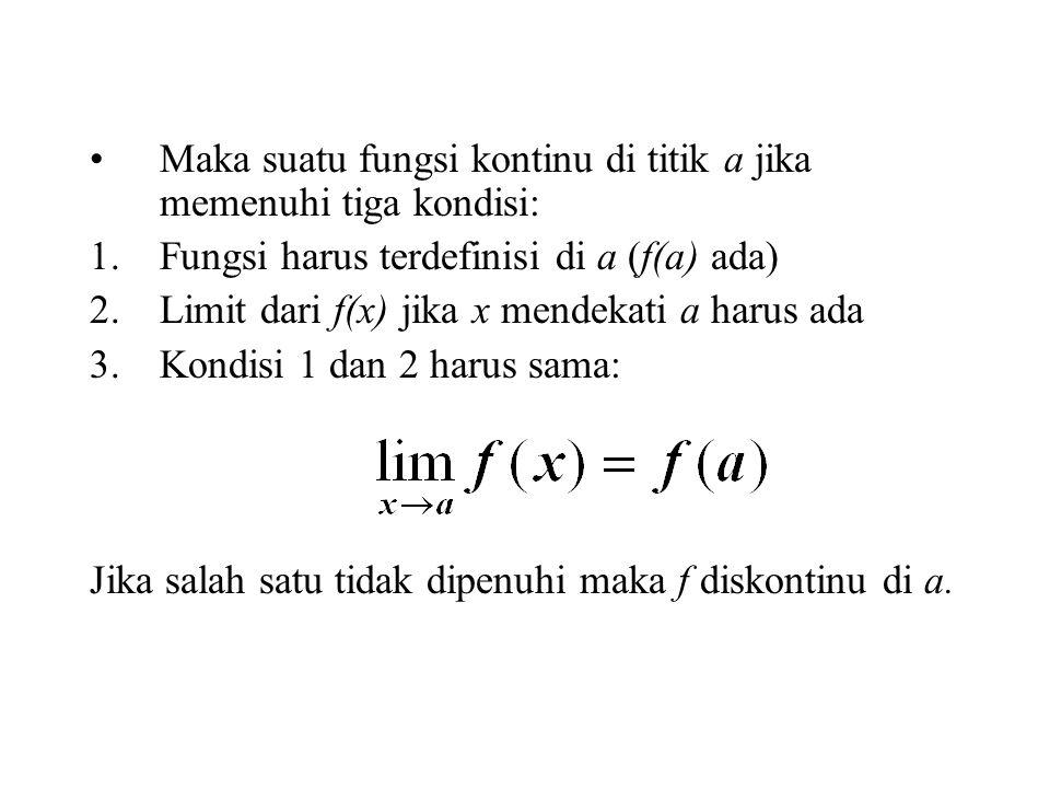 Maka suatu fungsi kontinu di titik a jika memenuhi tiga kondisi: